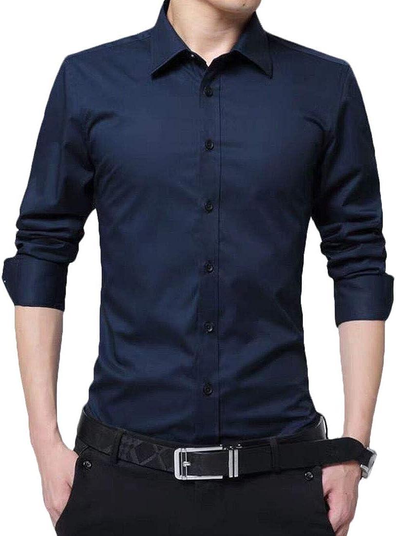 XTX Mens Classic Button Up Fleece Linen Formal Business Dress Shirts