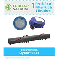 Replacement for Dyson DC24 Brush Roller & Pre & Post-Motor Filters for Dyson DC24 Vacuums; Compare to Dyson Part Nos. 917390-02, 917390-01, 915928-01, 91592801 & 913788-01; Designed & Engineered by Th
