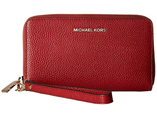 MICHAEL Michael Kors KORS STUDIO Large Flat Phone Case Wristlet Burnt Red by MICHAEL Michael Kors