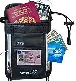 SevenBlu Passport Holder   Travel Neck Wallet w RFID Block - # 1 Hidden Neck Pouch - PREMIUM Quality Money Belt - for Women and Men