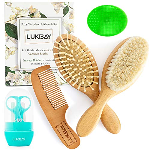 Toddler Hair Brush Comb Set-Complete Kit Baby Products Wooden Soft Bristle Brush Wooden Comb Baby Cradle Cap Silicone Brush Bath Boy Girl Grooming Kit Ideal for Newborn Babies Infant Baby Shower Kids