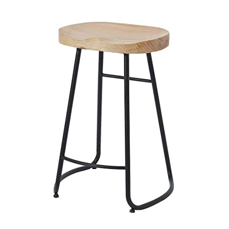 Pleasant Amazon Com Bar Stools Wood Seat And Metal Base Home Creativecarmelina Interior Chair Design Creativecarmelinacom