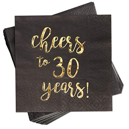 50-Pack Cocktail Napkins - Disposable Paper Party Napkins with Cheers to 30 Years! Printed in Gold Foil, Perfect for Birthday and Anniversary Celebrations, 5 x 5 inches Folded, Black -