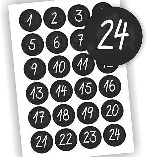 Play-Too 24 Aufkleber Adventskalender Fest Weihnachten schwarz Tafel Aufkleber Sticker Zahlen