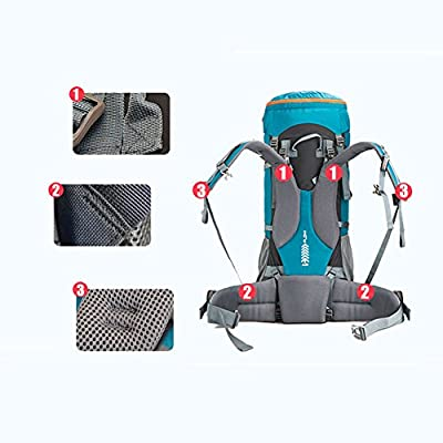 WATERFLY 60L/70L Polyamide Waterproof Hiking Backpack with Adjustable Strap Belt For Man Women Outdoor Travel Climbing Camping Mountaineering Black/Blue/Green/Red