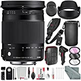 Sigma 18-300mm F3.5-6.3 Contemporary DC Macro OS HSM Lens for Canon EF Camera with Xpix SD Card Case + 2-in-1 Tripod + Cleaning Kit + Deluxe Lens Accessory Bundle