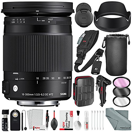 UPC 096259924082, Sigma 18-300mm F3.5-6.3 Contemporary DC Macro OS HSM Lens for Canon EF Camera with Xpix SD Card Case + 2-in-1 Tripod + Cleaning Kit + Deluxe Lens Accessory Bundle