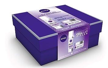 NIVEA Pack Hyaluron Cellular Filler, Crema de Día Antiedad y Serum Pearls set de belleza en estuche de regalo para una piel más firme y con más ...