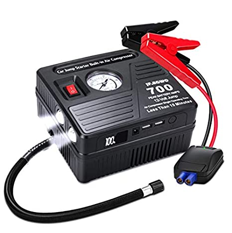 Portable Car Jump Starter With Air Compressor 700 Amp 120 Psi 18000 Mah Li On Battery Jump Pack With Air Pump 2 Usb Charging Ports And 2 Led