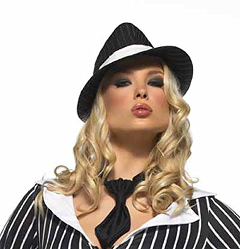 - Leg Avenue LAA1019 (Pinstripe) Gangster Hat Pinstripe White Band Ladies