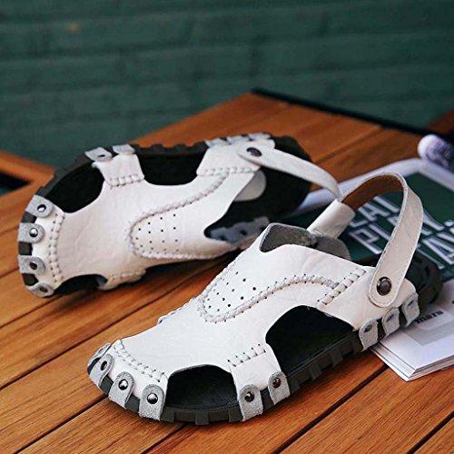 ZXCV Zapatos al aire libre Zapatos de los hombres de verano sandalias ocasionales transpirables cómodos zapatos de los hombres transpirables zapatillas Blanco