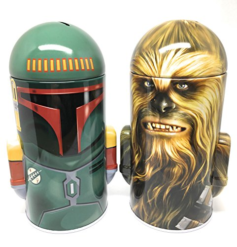 Disney Star Wars Chewbacca and Boba Fett Steel Coin Banks (Total of 2 Banks)