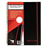 Wholesale CASE of 15 - Black n' Red Ruled & Perf. Wirebound Notebook-Wirebound Notebook, Ruled/Perf., 11''x8-1/2'', Black/Red
