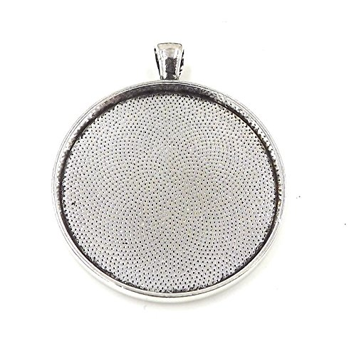 20 Deannassupplyshop Circle Pendant Trays - Antique Silver Color - 38mm - Pendant Blanks Cameo Bezel Settings Photo Jewelry - Custom Jewelry Making - ()