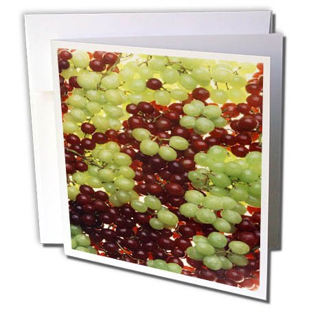 3dRose TDSwhite – Farm and Food - Food Green Red Grapes Fresh Juicy - 6 Greeting Cards with Envelopes (gc_285147_1) by 3dRose