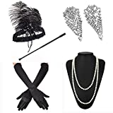 1920s Accessories Feather Jewel Headband Faux Pearl Necklace Gloves Cigarette Holder by ZeroShop