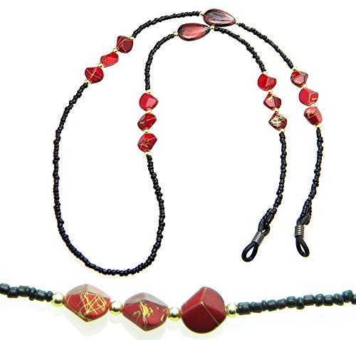 Red Seed Bead - PlanetZia Black Seed Bead and Red Nuggets Beaded Eyeglass, Sunglass Holder Chain Necklace with Grips TVT-EG-24-1