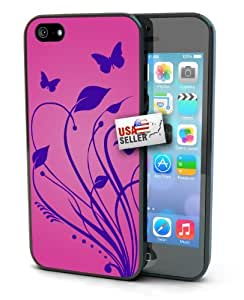 Butterfly Floral Purple and Pink Art Black Plastic Cover Case for iPhone 6 Plus (5.5 inch) by mcsharks