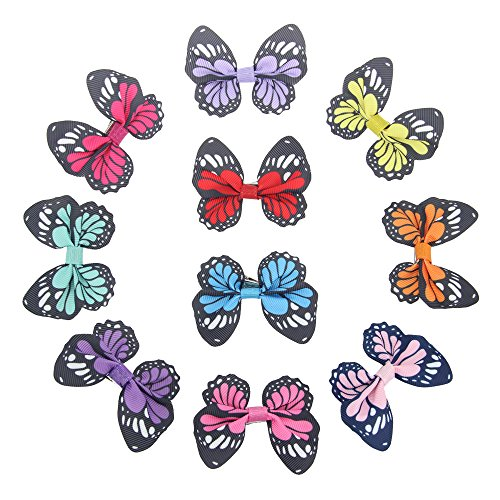 Price comparison product image 7Rainbows Girls Butterfly Hair Bows with clips and Headbands