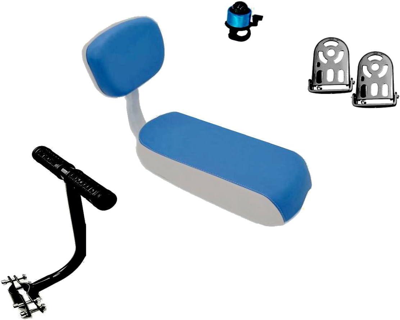 ZHOUWHJJ Bicycle Rear Seat Cushion Armrest Footrest Set, Kid Child Carrier Bike Seat, Including Cushion and Backrest, Armrest Handrail, Footrests,Bell