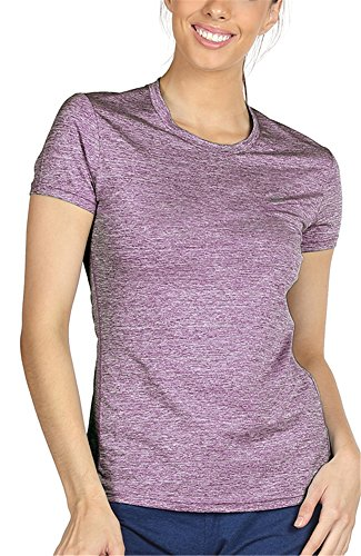 icyzone Workout Running Tshirts for Women - Fitness Athletic Yoga Tops Exercise Gym Shirts (M, Lavender) - Gym Workout T-shirt