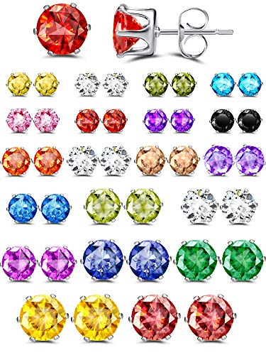 20 Pairs Stainless Steel Stud Earrings CZ Stud Earrings Round Stud Earring for Women Girl- 4 mm/ 5 mm/ 6 mm/ 7 mm/ 8 mm