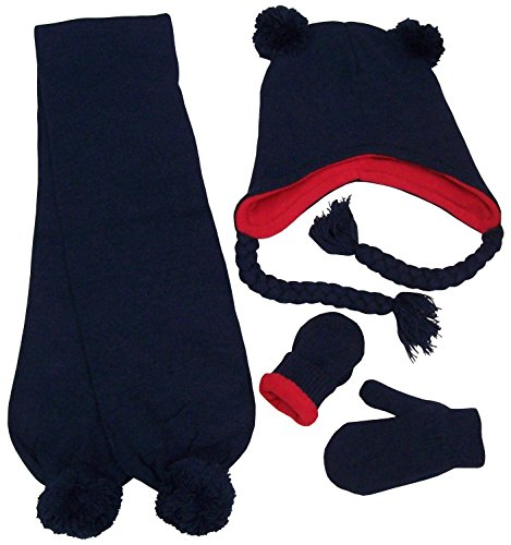 (N'Ice Caps Little Boys Fleece Lined Knitted 3PC Set with Poms (2-4 Years, Navy))