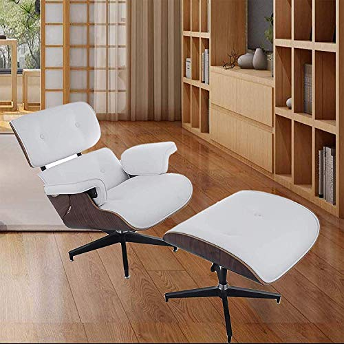 Mophorn Lounge Chair with Ottoman Mid Century Modern Replica Style Recliner Chair High Grade PU Leather Recliner Armchair with Foot Stool White