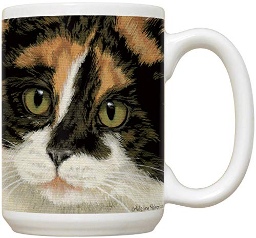 Calico Cat Face Mug | Large 15 oz Coffee or Tea Mug | Calico Cat Lovers Gift | Cat - Printed Calico
