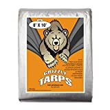 B-Air, Grizzly Tarp, 8X10, Multi Purpose Heavy Duty Waterproof Tarp, 14 x 14 Weave, Silver