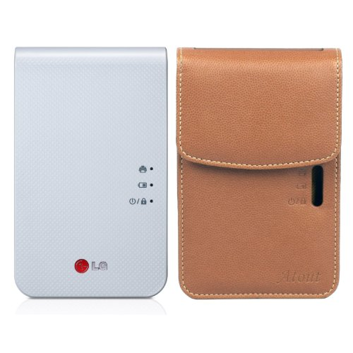 LG Pocket Photo 2 PD239 (White) Mini Portable Mobile Photo Printer + [Brown] Atout Premium Synthetic Leather Vintage Cover Case, Best Gadgets