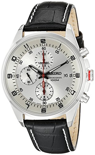 (Seiko Men's SNDC87P2 Leather Synthetic Analog with White Dial Watch)