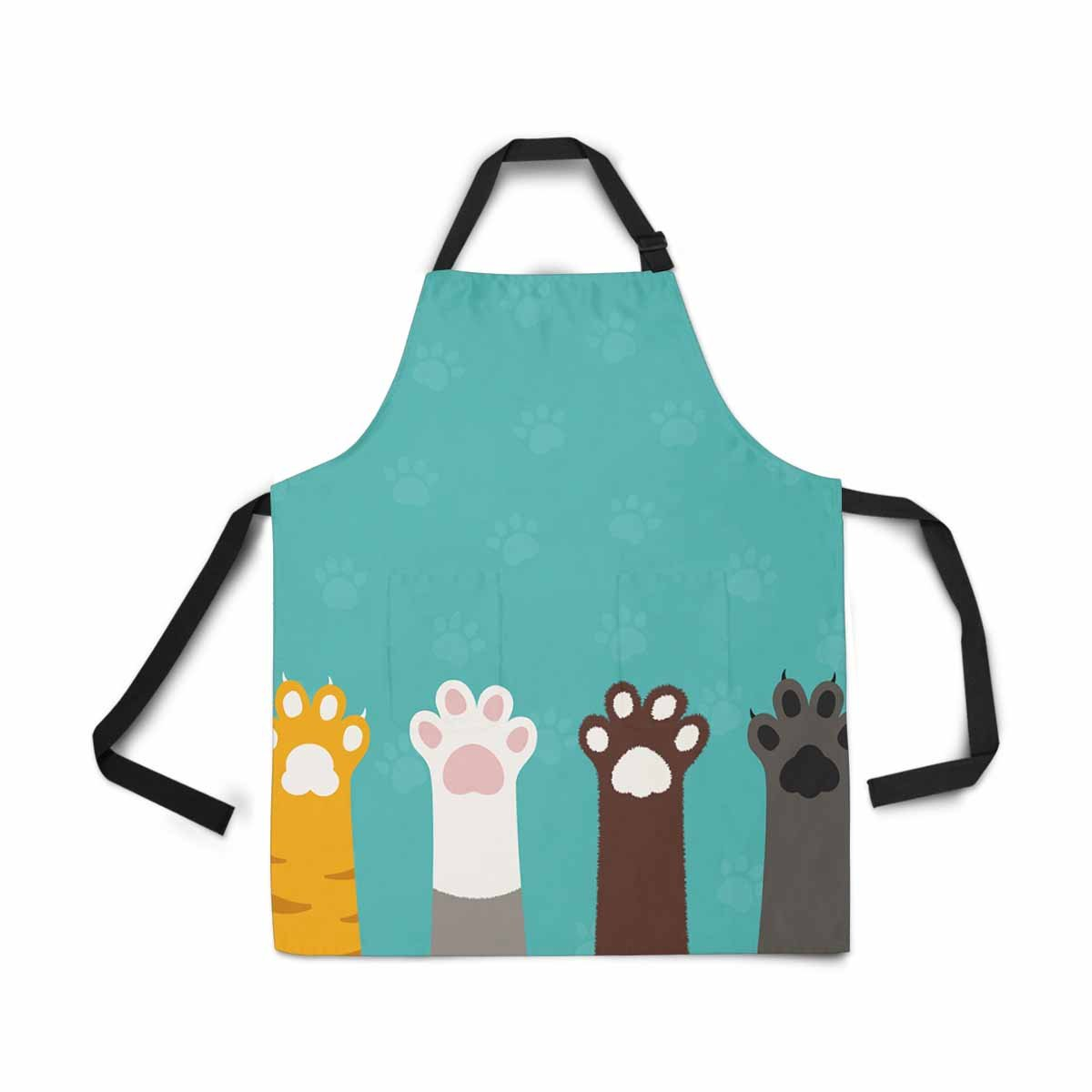 InterestPrint Cat Paws Legs Dog Paw Cute Animal Cartoon Apron for Women Men Girls Chef with Pockets, Adjustable Bib Kitchen Cook Apron for Cooking Baking Gardening Pet Grooming Cleaning