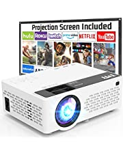 TMY Projector with 100 Inch Projector Screen, 1080P Full HD Supported Video Projector, Mini Movie Projector Compatible with TV Stick HDMI VGA USB TF AV, for Home Cinema & Outdoor Movie.
