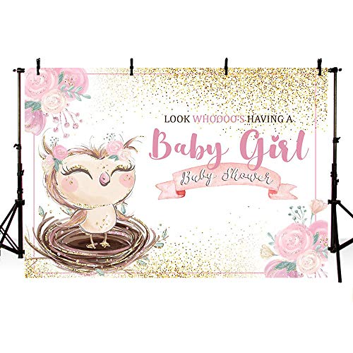 MEHOFOTO Owl Themed Girl Baby Shower Photo Background Banner Woodland Pink Floral Gold Glitter Princess Baby Shower Watercolor Backdrops for Photography 7x5ft]()