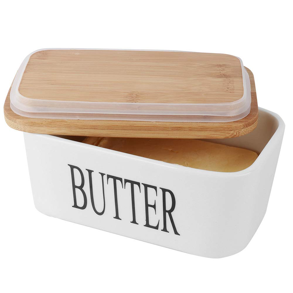 SZUAH Porcelain Butter Dish(500ml),Large Butter Keeper Container with Natural Bamboo Lid & Seal Ring.