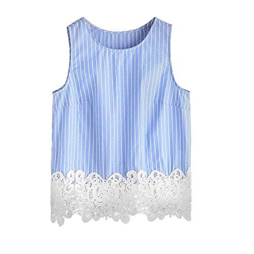 EMIKI Women Vest Stripe Casual Sleeveless Crop Tank Blouse Cami Top (M/US (Pleats Poplin Skirt)