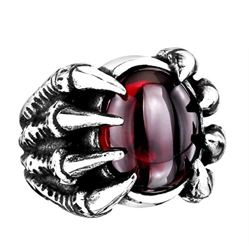 Bishilin Stainless Steel Ring Personalized 24.5MM Dragon Claw Stone Vintage Ring Engagement Red Size 11