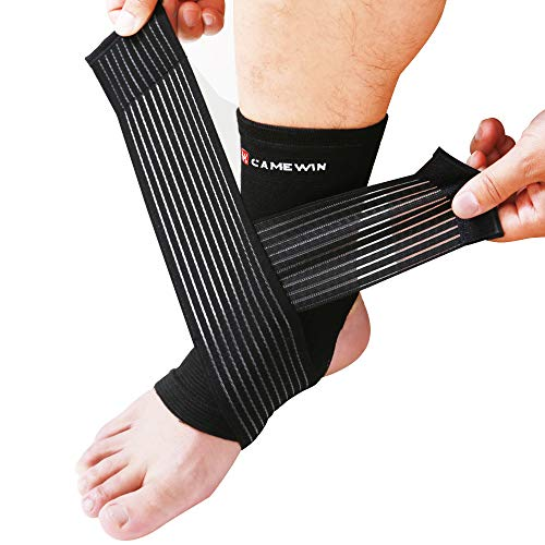 CAMEWIN Ankle Support Adjustable Elastic Wrap for Plantar Fasciitis, Swollen Feet, Sports Protection, Basketball, Football (Black)