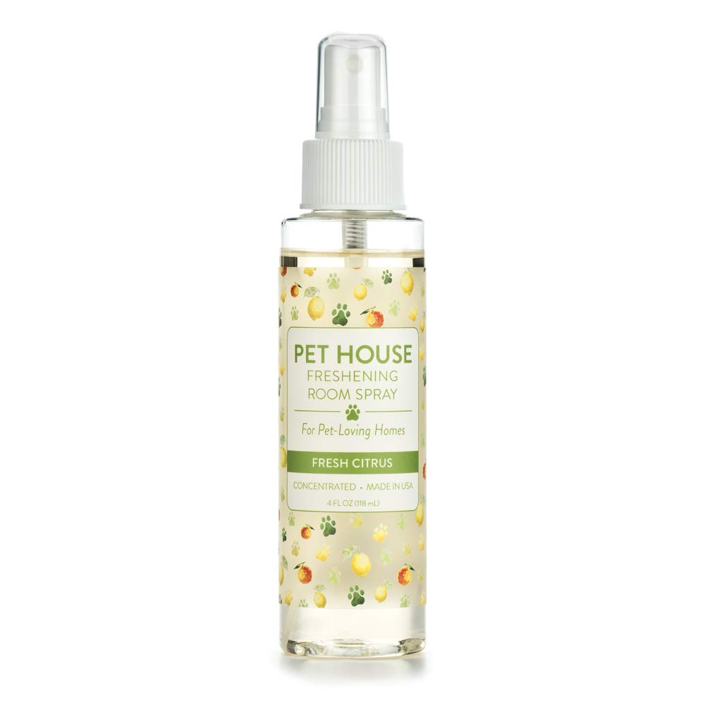One Fur All Pet House Pet Friendly Freshening Room Spray in 6 Fragrances - Non Toxic - Concentrated Air Freshening Spray Neutralizes Pet Odor – Effective, Fast-Acting – 4 oz - (Fresh Citrus)