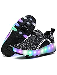 LED Light Up Roller Skate Shoes with Two Wheel and lights Flashing Sneakers for Boys Girls Kids