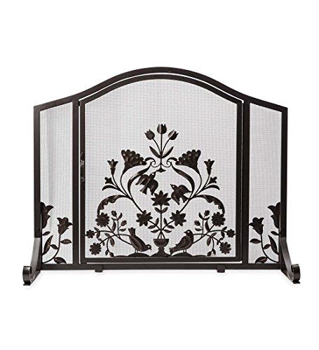 Ansley Folk Art Fireplace Screen with Door, Large - 44 L x 13 W x 33 H by Plow & Hearth