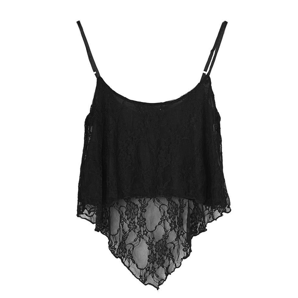 iLUGU Women Loose Lace Top for Sleeveless Vest Strapless Sling Short Crop Cami Blouse Shirts Black