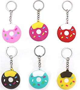 Finduat 18 Pcs Sweet Donut Keychain for Sweet Donut Theme Party Favors Pendant for Kid Toy Ornament Souvenirs Gift