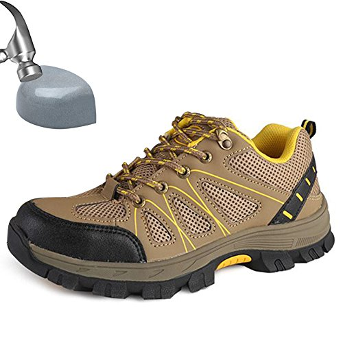 JACKSHIBO Safety Work Shoes With Steel Toe Puncture Proof Footwear Industrial and Construction Shoes Khaki
