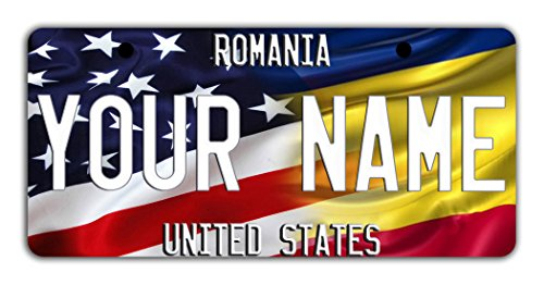 BleuReign(TM) Personalized Custom Name Mixed USA and Romania Flag Bicycle Bike Moped Golf Cart 3