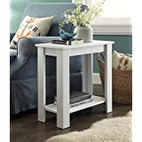 White Finish 2-tier Chair Side End Table with Shelf