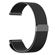 18mm 20mm 22mm Watch Band Strap, amBand Fully Magnetic Closure Clasp Mesh Loop Milanese Stainless Steel Metal Replacement Band Bracelet Strap for Men's Women's Watch Black, Silver