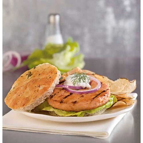 Trident Seafoods Salmon Burger, 4 Ounce -- 12 per case.