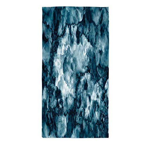 Apartment Decor Dust Proof Tablecloth,Antique Marble Stone with Blurry Distressed Motley Fractal Effects Illustration for Kitchen Dinning Tabletop Decoration,24''W X 48''L